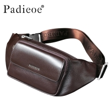 Padieoe Genuine Leather Men's Waist Packs New Designer Leather Casual Waist Pack High Quality Unisex Waist Belt Bag Waist Bag(China)
