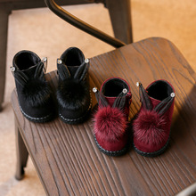 Winter little girls boots Baby Leather Snow Boots quality winter shoes,winter chill-proof Baby kids Little Bunny Plush Shoes(China)