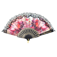 Chinese Folding Flower Lace Hand Fan Bead Fabric Decor Colored Embroidered Flower Pattern Cloth Folding Hand Fan(China)