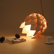 Wood Pendant Lamp Modern Art Wooden Pinecone Pendant Light Home Restaurant Hanging Pine Cone Home Decorative Light Fixtures