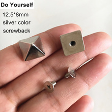 Screw in Rivet Studs 3D Pyramid 12.5*8mm Punk Rock Metal Rivet,DIY Leather Crafts,Belt,Bags,Clothing Fashion Rivet,Silver 30 Set