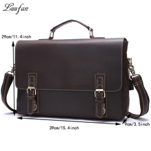 Vintage leather business bag Brown men's crazy horse Leather briefcase Laptop cow leather Handbags work tote bag Free shipping(China)