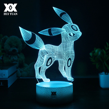 Creative Pokemon Umbreon 3D Lamp Visual illusion USB Cartoon Night Light LED 7 Color Sleep Table Lamp Children Christmas Gifts(China)