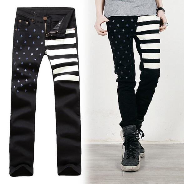 Wholesale 2015 New Fashion  Black tars and Stripes USA flag boy Cargo Waxed Biker pants Jean Skinny  Mens Denim jeans trousersОдежда и ак�е��уары<br><br><br>Aliexpress