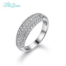 L&zuan 18K White Gold Ring 0.88ct Natural Diamond Romantic Rings Fine Jewelry For Women