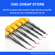 6 Models,R0.25 R0.5 R0.75 R1.0 R1.5 R2.0,CNC solid carbide woodworking router bit,NANO HRC55 tapered ball nose end mill,Cone bit(China)