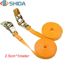 Hot Sale 1Pcs 1 Inch * 1 Meter 900KG Cargo Lashing Polypropylene Webbing Strap,Ratchet Tie Down Cam Metal Buckle Assembly Sling(China)