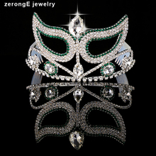 zerongE jewelry new style green rhinestone silver mask royal tiara crown pageant party /eventy/holiday/festival gift tiara crown(China)