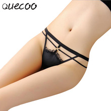 QUECOO Free  3pcs/lots Lady of Ice Taste sexy  panties with fine T-shirt charm buttocks women panties women's underwear