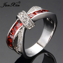JUNXIN Mystery Red Cross Ring Fashion White & Black Gold Filled Jewelry Vintage Wedding Rings For Women Birthday Stone Gifts(China)