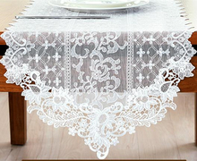 Lace Table Cloth European Minimalist Table Runner White Coffee Household Delicate Table Flag(China)