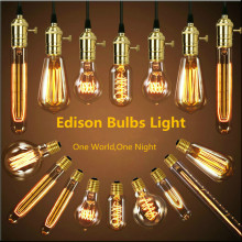 Retro lamp st64 G80 vintage edison bulb e27 incandescent 110v 220v holiday lights 40w filament lampada home decor - Lifan Lighting Store store