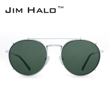 Jim Halo Retro Round Polarized Clip on Removable Sunglasses Women Men Double Flat Mirror Lens Alloy Frame Steampunk Sun Glasses(China)