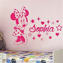 Free shipping DIY Creative Minnie Custom Kids Name baby wall stickers for kids rooms home decoration wall stickers