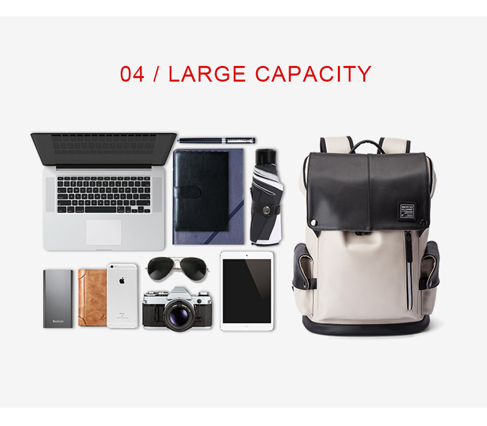 Men Backpack PU Leather Backpacks Male Laptop 17 Inch 15.6 Backpacking Women Female Bags Student Waterproof USB Charging Bagpack (7)