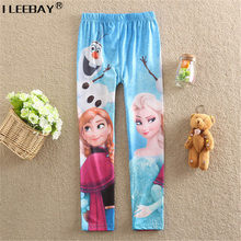 2017 Autumn Winter New Baby Girl Fashion Long Pants Print Cartoon Kids Girls Anna Elsa Leggings Blue Toddler Classic Pants 3-10Y