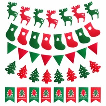 (6 piece/lot)3M Christmas Santa Claus/Elk Pull Flags Tree Holiday Party Hanging Decorations Ornament Pub Banner Xmas Gifts