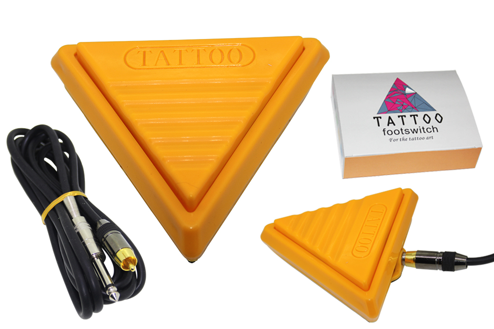 Free Shipping Pro Triangle Flat Tattoo Foot Pedal Switch& Clip Cord  Footswitch Tattoo Supply Yellow