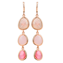 2017 New Fashion Dangle Long Earrings Fashion Jewelry Charms Colorful Crystal Resin Stone Long Drop Pink Earrings For Women Girl