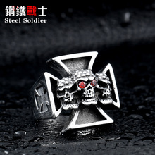 Steel soldier Men's Punk Rock Jewelry New Three Skull Iron Cross Ring For Men Red Stone Stainless Steel ring