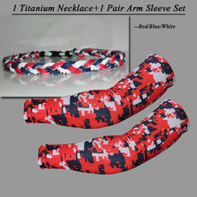 2017 Navy Blue/Red/white 1 pcs titanum necklace and 1 pair arm sleeve set(China)