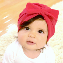 Cotton Baby Girl Boy Hat Soft Turban Bowknot Cap Beanie Bohemian Hats Baby Photography Accessories(China)