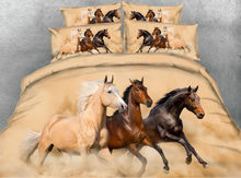 JF013 Fine running horses print bedding 5pcs luxury horse comforter set contains a quilt filler