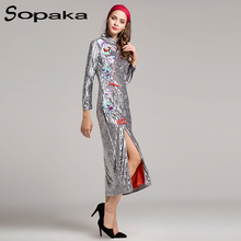 Chinese Traditional Qipao 2017 Fall Fashion Flowers Bee Embroidered Striped Ribbed Side High Slit Red Lining Silver Cheongsam