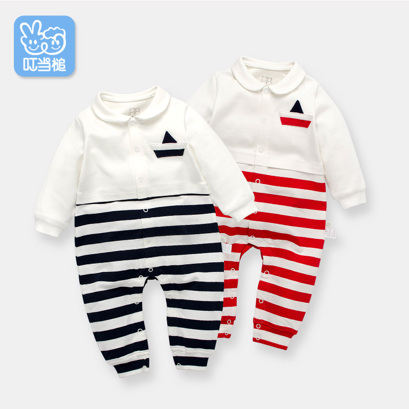 Dinstry Newborn cotton Rompers baby boys&amp; girls spring autumn wear with stripe fabric, one-piece cute Outerwear<br>