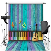 Purple Blue Piano Music Guitar Wood Wall backdrop Vinyl cloth High quality Computer print party background(China)