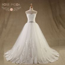 Rose Moda French Lace Ball Gown Crystal Beaded Princess Lace Wedding Dress Plus Size Lace Up Back(China)
