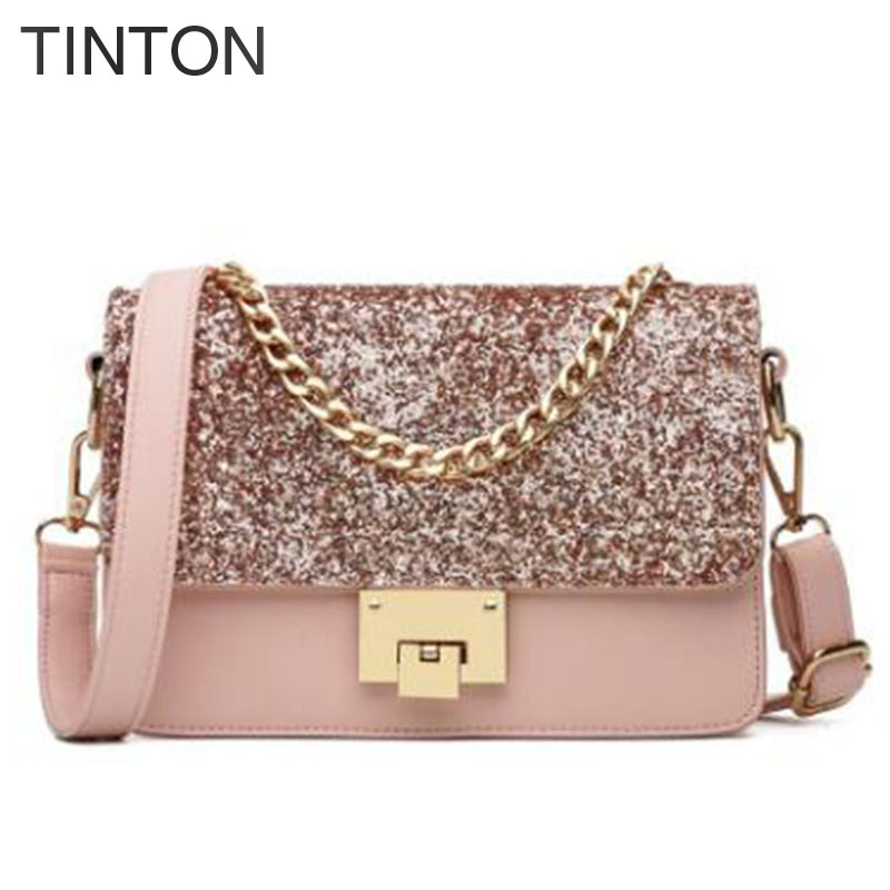woman bags 2018 creative chain small women messenger bag sequined decoration pu leather womans handbag party lock purse canta<br>