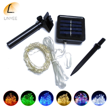 Solar String Lights 10M 100 LED Silver Wire String Fairy Lights Waterproof Christmas Solar Power Lamp For Garden Decoration(China)