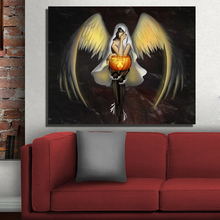 QKART Painting Birds Halloween Angel Wings Eyes Boots Wall Pictures for Living Room no Framed Wall Poster