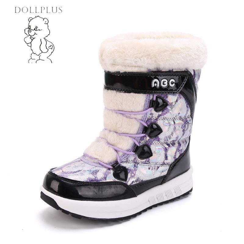 Dollplus  2017 Fashion Winter Boots Girl Warm SnowBboots Non-Slip Waterproof Can Provide Warmth For -30 Degrees Eur Size 31-37#<br>