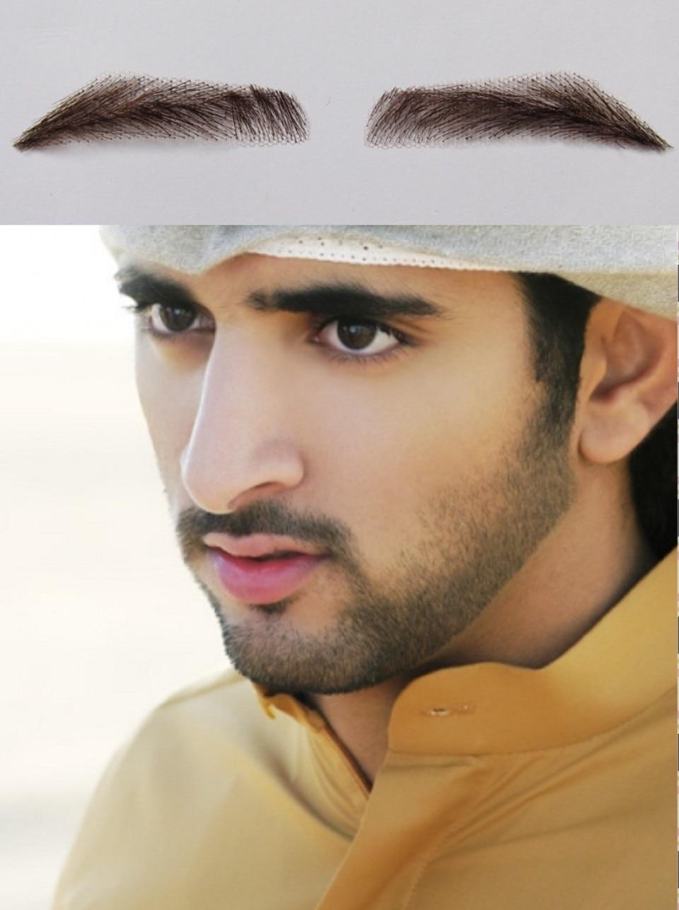 2016 New Natural Sobrancelha 2pcs (1pairs) 100% Real Hair Man False Eyebrows/ Dubai King Eyebrow Dark Color Hand Made Extension <br><br>Aliexpress