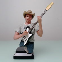 American West Cowboy Country Pub Band Bass Player Bust Sculpture Handmade Resin Figurine Art and Craft Ornament Free Shipping