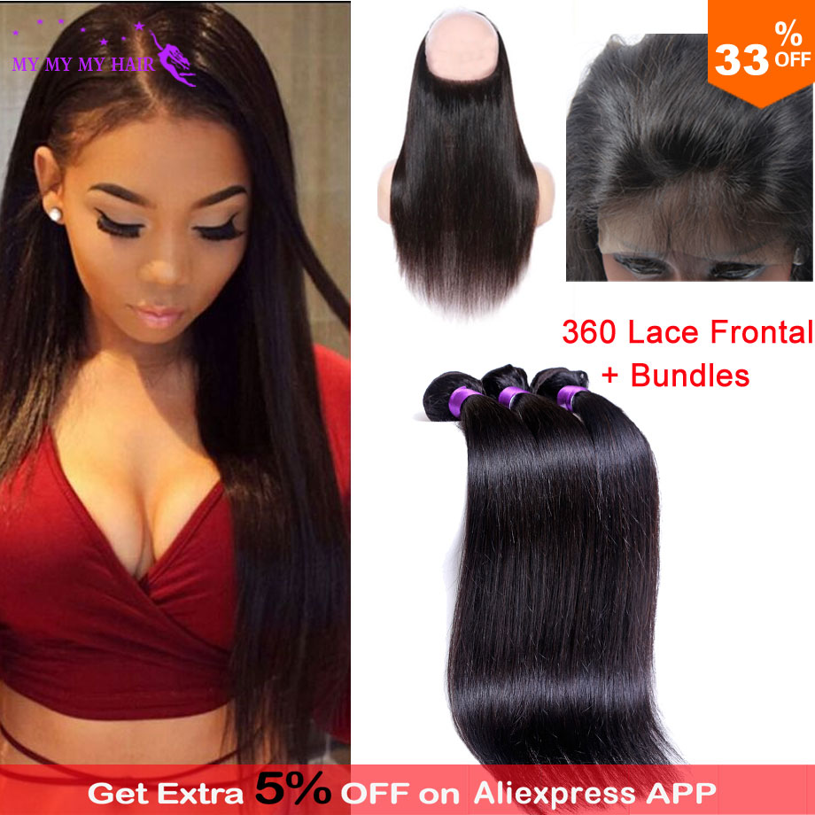 Unprocessed Pre Plucked 360 Lace Frontal Closure With 3 Bundles Indian Virgin Hair Straight 360 Lace Virgin Hair With Bundles<br><br>Aliexpress