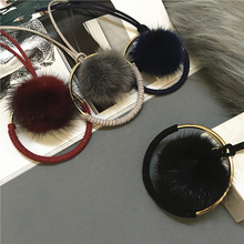 Top Quality Super Star style Mink fur Ball Metal Round Necklaces for Women Sweater Chain.Winter Jewelry(China)
