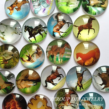ZEROUP 12mm round glass cabochon horse pictures mixed pattern fit cameo base setting for jewelry embellishment 50pcs/lot