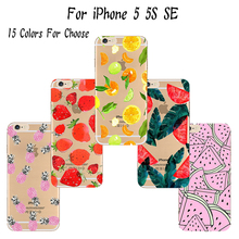 5/5S/SE Soft TPU Cover For Apple iPhone 5 5S SE Case Cases Phone Shell Painted Multiple Fruit Lush Leaf 2016 Popular