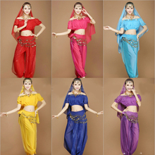 New Sexy Women Adult Arabic Indian Egyptian Cheap Belly Dance Costumes Set 4 Pieces Crop Top Harem Pants Hip Scarf Veil(China)