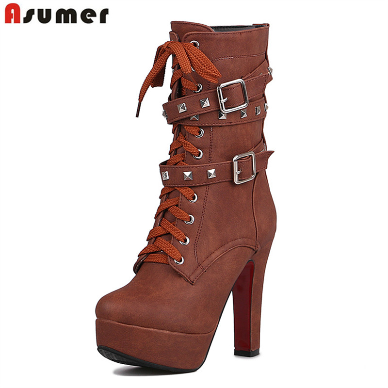 ASUMER 2017 New high quality women boots 12.5cm super high heels platform motorcycle winter boots mid calf shoes rivets buckle <br>