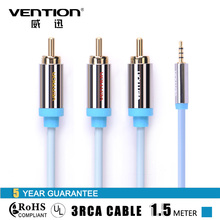 Vention 1.5m Audio Aux Cables 3.5mm microphone cable male to 3 RCA Speaker Cable Jack 3.5 mm for computer Ipad Iphone 4 5 6 s(China)