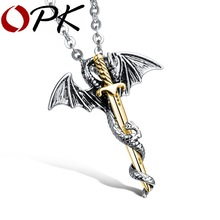 OPK Personality Dragon & Sword Man Pendant Necklaces Punk Silver/ Gold Color Stainless Steel Men Jewelry Free Link Chain GX937J(China)