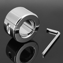 Buy Stainless steel heavy penis ring bdsm bondage men scrotum pendant metal cock rings ball weight ball weight adult sex toys