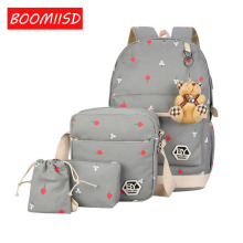 BOOMIISD designer 5pcs canvas USB school bags set youth school laptop backpack best selling design school bags backpack 4344