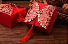 Free shipping 9*9*5.7cm big size chinese red wedding cake favor boxes with tassels