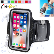 Sport Running Arm Band Case for iPhone X 8 7 6 6S Phone Waterproof PU Leather Bag Cover Capa Fundas(China)