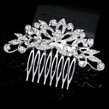 Hot Selling Leaf Flower Crystal Bridal Hair Combs Wedding Hair Jewelry for Women Hair Accessories Diamante Rhinestone Slide Clip